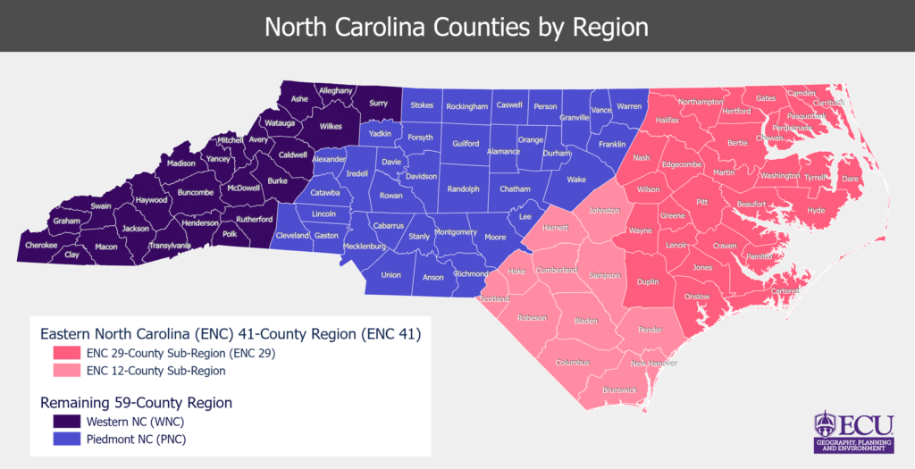 Map of North Carolina that shows which counties make up different NC regions.